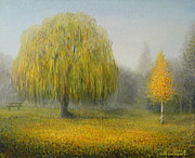 Tree Art Paintings - Sleepy Morning by Kiril Stanchev