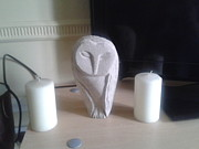 Owl Sculpture Metal Prints - Sleepy Owl Metal Print by Stephen Nicholson