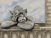 Gargoyle Paintings - Sleepy by Sam Sidders