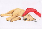 Puppy Drawings - Sleepy Time by Deborah Nicholas