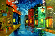 Rainy Street Painting Originals - Sleepy town by Mariana Stauffer