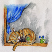 Cat Art Drawings Prints - Sleepyhead Print by Angel  Tarantella
