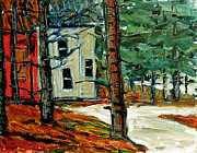 Winter Storm Painting Prints - SLEET and RAIN at the MOCK PLACE Print by Charlie Spear