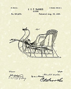Drawn Framed Prints - Sleigh 1893 Patent Art Framed Print by Prior Art Design