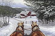 Horses Painting Framed Prints - Sleigh Bells Framed Print by Richard De Wolfe