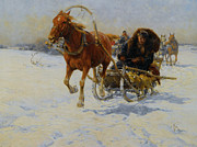 Snow Scene Digital Art Posters - Sleigh Ride Poster by A Wierusz Kowalski