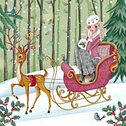Fairy Tale Mixed Media Prints - Sleigh ride Print by Caroline Bonne-Muller