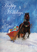 The Horse Pastels Prints - Sleigh Ride Holiday Card Print by Loretta Luglio