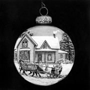 Snow Scene Drawings Prints - Sleigh Ride Ornament Print by Peter Piatt