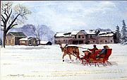 Old Barn Paintings - Sleigh Ride by Susan Crossman Buscho