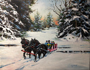 New England Snow Scene Painting Framed Prints - Sleigh through Snowy Woods Framed Print by Brett Gordon