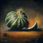 Watermelon Pastels Originals - Slice of Life by Rebekah Sisk