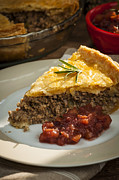 Beef Photo Posters - Slice of Tourtiere meat pie  Poster by Elena Elisseeva