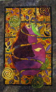 Art Quilt Tapestries Textiles Posters - Sliced Pear Poster by Lynda K Boardman