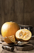 Burlap Prints - Slicing Pumpkins Print by Christopher and Amanda Elwell
