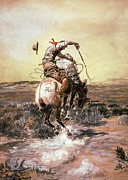 Bulls Digital Art Metal Prints - Slick Rider Metal Print by Charles Russell