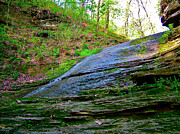 Natchez Trace Parkway Posters - Slick Rock at Jackson Falls at Mile 405 of Natchez Trace Parkway-TN Poster by Ruth Hager