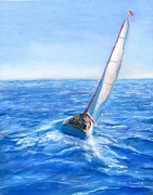 Sailboat Ocean Pastels Framed Prints - Slip Away Framed Print by Jack Skinner