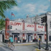Key West Paintings - Sloppy Joes by Linda Cabrera