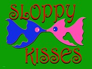 Cards Mixed Media Prints - Sloppy Kisses Print by Patrick J Murphy