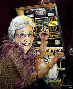 Las Vegas Painting Prints - Slot Machine Queen Print by Shelly Wilkerson