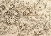 Sloth Pieter Bruegel Drawing Print by