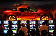 John Malone Artist Framed Prints - Slots PLayers in Vegas Framed Print by John Malone