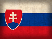 Slovakia Prints - Slovakia Flag Vintage Distressed Finish Print by Design Turnpike