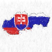 Slovakia Prints - Slovakia Painted Flag Map Print by Antony McAulay