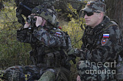 Military Training Prints - Slovenian Soldiers Watch For Simulated Print by Stocktrek Images