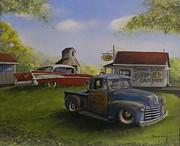 Rat Rod Painting Posters - Slow and Low Poster by Whitey Thompson