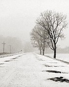 Winter Road Scenes Photo Prints - Slow Going II Print by Julie Dant