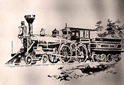 Sepia Ink Drawings - Slow Train by Robbi  Musser