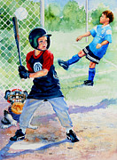 Baseball Game Painting Framed Prints - Slugger And Kicker Framed Print by Hanne Lore Koehler