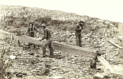 Old Miner Framed Prints - SLUICE BOX PLACER GOLD MINING c. 1889 Framed Print by Daniel Hagerman