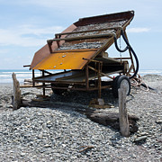 Valuable Prints - Sluice box to extract alluvial gold on West Coast NZ Print by Stephan Pietzko