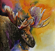 Beverley Harper Tinsley Painting Prints - Sly Moose Print by Beverley Harper Tinsley