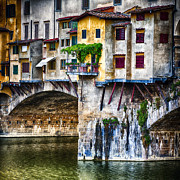 Arno River Framed Prints - Small Balcony on a Bridge House Framed Print by George Oze