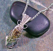 Wire-wrapped Jewelry Originals - Small Bismuth Crystal and Silver Wire-Wrapped Pendant by Heather Jordan