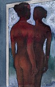 Erotic Paintings - Small Blue Mirror by Graham Dean