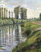 River Banks Framed Prints - Small Branch of the Seine at Argenteuil Framed Print by Gustave Caillebotte