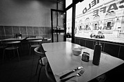 Greasy Spoon Prints - Small Cafe Tables And Window At Smithfield Market London England Uk Print by Joe Fox
