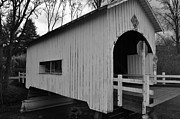 Black And White Photography Painting Metal Prints - Small Covered Bridge Metal Print by Kirt Tisdale