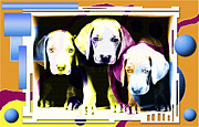Beagle Puppies Paintings - Small family unit by Sergey Malkov