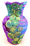 Vase Ceramics Prints - Small Filigree Vase Print by Alene Sirott-Cope