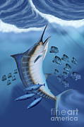Game Fish Digital Art Posters - Small Fish Scatter As A Huge Blue Poster by Corey Ford