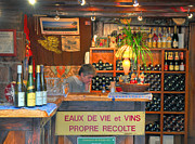 French Wine Bottles Prints - Small French Wine Shop Print by Dave Mills