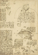 Engineering Drawings Framed Prints - Small front view of church squaring of curved surfaces triangle elmain or falcata Framed Print by Leonardo Da Vinci