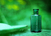 Taken Framed Prints - Small Green Poison Bottle Framed Print by Rebecca Sherman