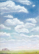 Sky Pastels - Small House Under a Big Sky by Barb Kirpluk
